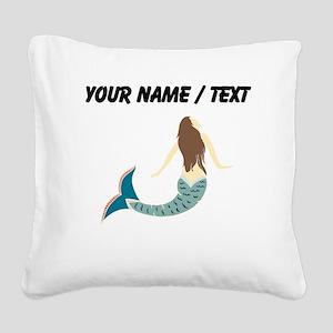 Custom Brunette Mermaid Square Canvas Pillow