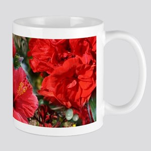 Red Flower Bouquet Collage Mugs