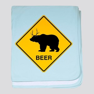 Beer bear deer baby blanket