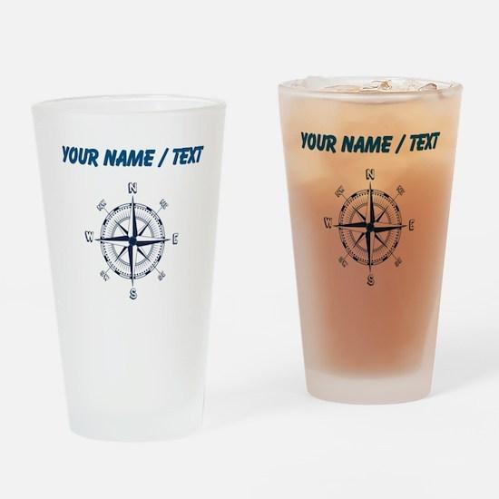 Custom Blue Compass Drinking Glass