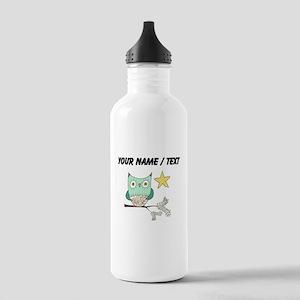 Custom Blue Owl In Tree Water Bottle