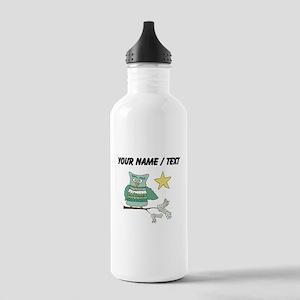 Custom Cartoon Owl In Tree Water Bottle