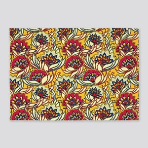 Yellow, Red Vintage Floral 5'x7'area Rug