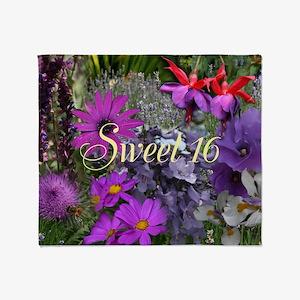 Purple Flowers to Customize Throw Blanket