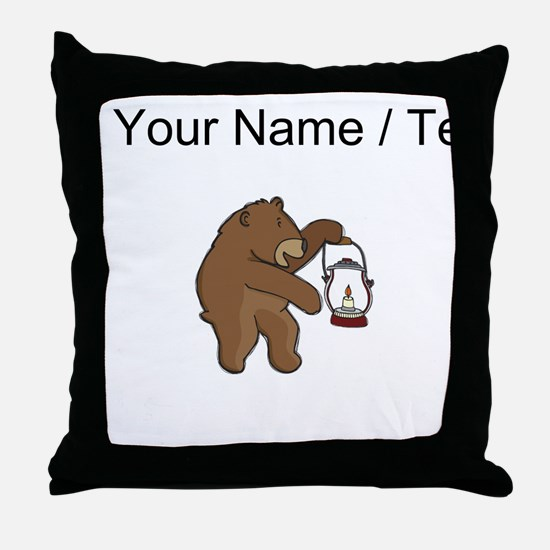 Custom Bear With Lantern Throw Pillow
