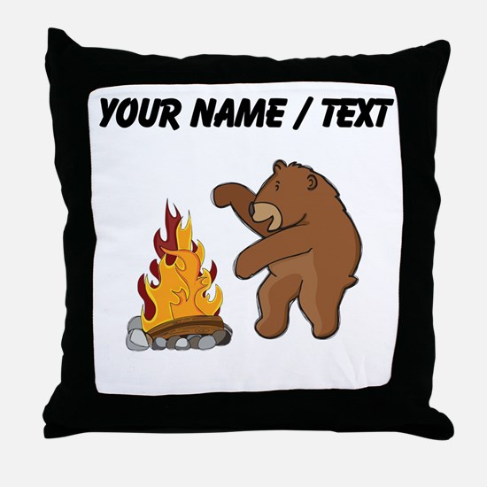 Custom Camp Fire Bear Throw Pillow