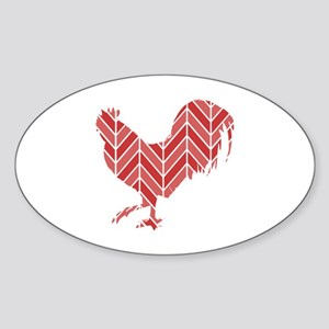 Chevron Rooster Sticker (Oval)