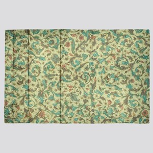 Rustic Country Floral Ornaments Wood 4' x 6' Rug