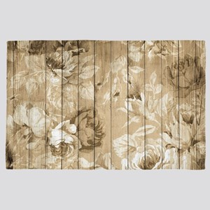 Shabby Chic Country Floral Peony Wood 4' x 6' Rug