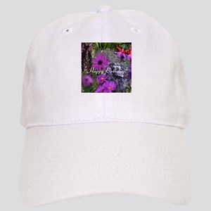 Purple Flowers to Customize Cap