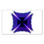 Blue Flaming Biker Cross Rectangle Sticker