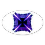 Blue Flaming Biker Cross Oval Sticker