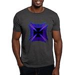 Blue Flaming Biker Cross Dark T-Shirt