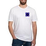 Blue Flaming Biker Cross Fitted T-Shirt