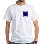 Blue Flaming Biker Cross White T-Shirt