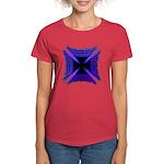Blue Flaming Biker Cross Women's Dark T-Shirt