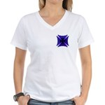 Blue Flaming Biker Cross Women's V-Neck T-Shirt