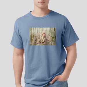 Shabby Chic Country Floral Rose Wood T-Shirt