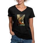 Madonna & Tri Cavalier Women's V-Neck Dark T-Shirt