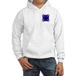 Blue Flaming Biker Cross Hooded Sweatshirt