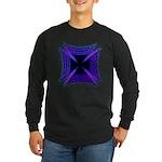 Blue Flaming Biker Cross Long Sleeve Dark T-Shirt