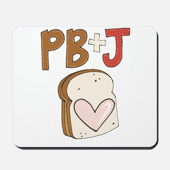PB and J Sandwich Heart Mousepad