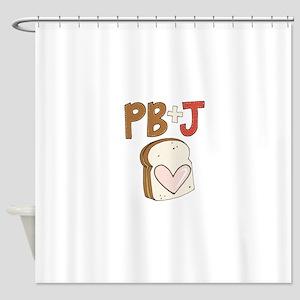 PB and J Sandwich Heart Shower Curtain