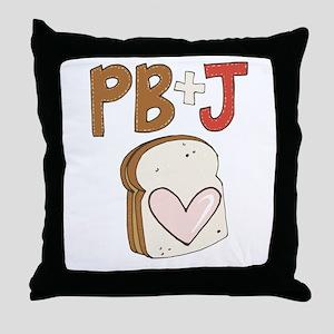PB and J Sandwich Heart Throw Pillow