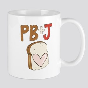 PB and J Sandwich Heart Mugs
