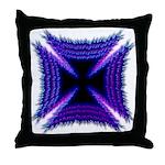 Blue Flaming Biker Cross Throw Pillow