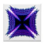 Blue Flaming Biker Cross Tile Coaster