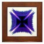 Blue Flaming Biker Cross Framed Tile