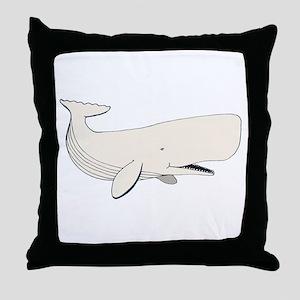 White Sperm Whale Throw Pillow