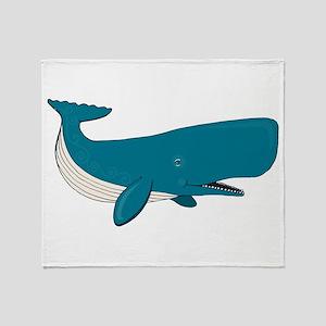 Blue Sperm Whale Throw Blanket