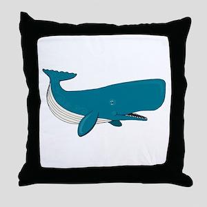 Blue Sperm Whale Throw Pillow