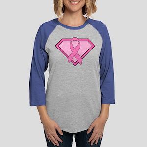 Superhero Shield Pink Ribbon Long Sleeve T-Shirt