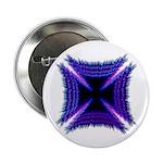Blue Flaming Biker Cross Button