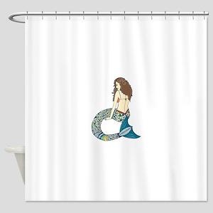 Brunette Mermaid Shower Curtain