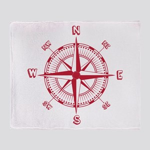 Red Compass Throw Blanket