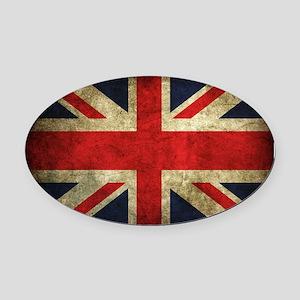 Grunge Uk Flag Oval Car Magnet