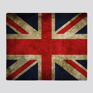 Grunge Uk Flag Throw Blanket