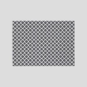 Gray White Lattice Pattern 5'x7'Area Rug