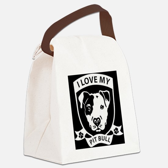 I Love My Pit Bull Canvas Lunch Bag