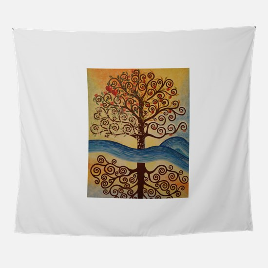 JEWISH TREE OF LIFE WITH REFLECTION Wall Tapestry