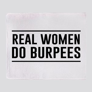 Real women do burpees Throw Blanket