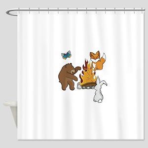 Camp Fire Animals Shower Curtain