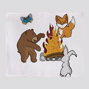 Camp Fire Animals Throw Blanket