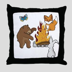 Camp Fire Animals Throw Pillow