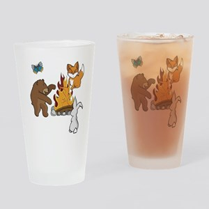 Camp Fire Animals Drinking Glass