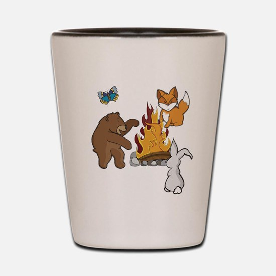 Camp Fire Animals Shot Glass